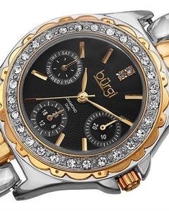burgi BUR117TTG Brand New Quartz day date Watch with 0.01ctw diamond