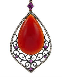 Brand New Pendant with 26.19ctw of Precious Stones - agate, diamond, and sapphire 14K Two tone gold