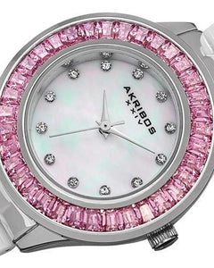 Akribos XXIV AK781WTP Brand New Swiss Quartz Watch with 0ctw of Precious Stones - crystal and mother of pearl