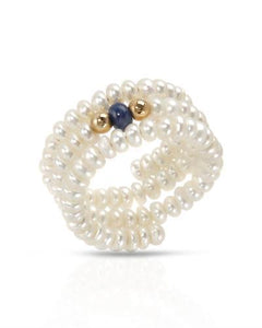 PEARL LUSTRE Brand New Ring with 0.25ctw of Precious Stones - pearl and sapphire 14K Yellow gold