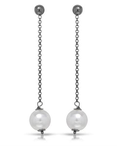 Brand New Earring with 0ctw faux pearl 925 Black sterling silver