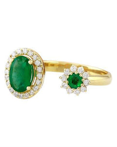 1.20 Carat Natural Emerald 14K Solid Yellow Gold Diamond Ring
