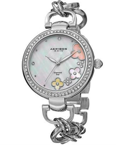 Akribos XXIV AK874SS Brand New Japan Quartz Watch with 0.02ctw of Precious Stones - crystal, diamond, and mother of pearl