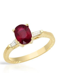 Brand New Ring with 1.6ctw of Precious Stones - diamond and ruby 14K Yellow gold