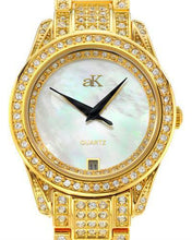 Load image into Gallery viewer, Adee Kaye AK9-12LG/CR Brand New Quartz date Watch with 0ctw of Precious Stones - crystal and mother of pearl