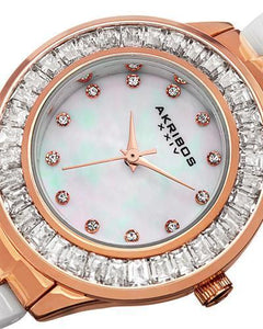 Akribos XXIV AK781WTR Brand New Swiss Quartz Watch with 0ctw of Precious Stones - crystal and mother of pearl