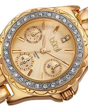 Load image into Gallery viewer, burgi BUR117YG Brand New Quartz day date Watch with 0.01ctw of Precious Stones - crystal and diamond