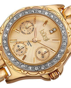 burgi BUR117YG Brand New Quartz day date Watch with 0.01ctw of Precious Stones - crystal and diamond