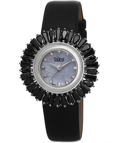 burgi BUR092 Brand New Swiss Quartz date Watch with 0ctw of Precious Stones - crystal and mother of pearl
