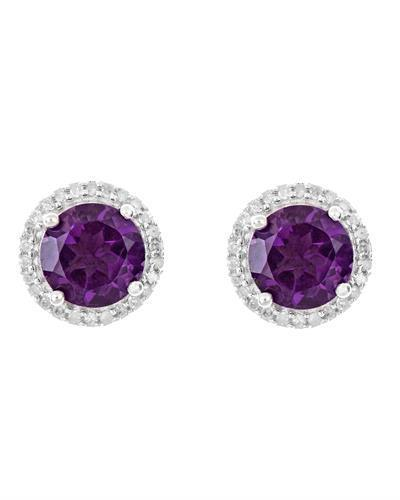 Brand New Earring with 2.66ctw of Precious Stones - amethyst and diamond 925 Silver sterling silver