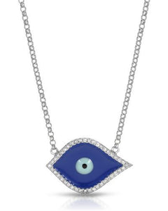 Brand New Necklace with 0.14ctw diamond  Multicolor Enamel and 14K White gold