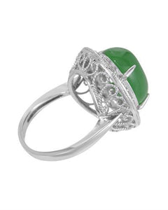 Lundstrom Brand New Ring with 9.47ctw of Precious Stones - diamond and jade 14K White gold