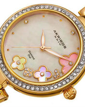 Load image into Gallery viewer, Akribos XXIV AK874YG Brand New Japan Quartz Watch with 0.02ctw of Precious Stones - crystal, diamond, and mother of pearl