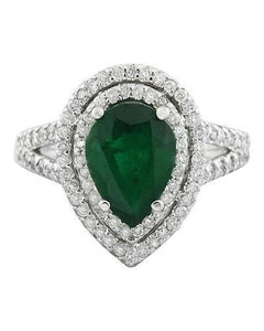 2.90 Carat Emerald 14K White Gold Diamond Ring