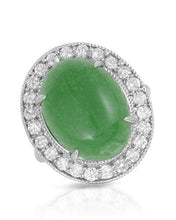 Load image into Gallery viewer, Lundstrom Brand New Ring with 9.47ctw of Precious Stones - diamond and jade 14K White gold