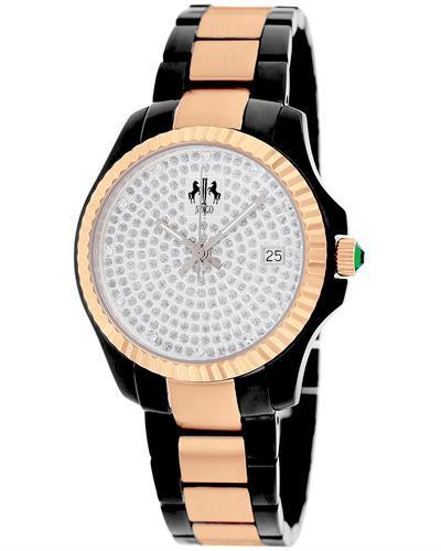 Jivago JV3212 Jolie Brand New Quartz date Watch with 0.1ctw of Precious Stones - crystal and diamond