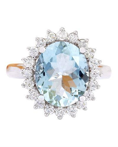 4.31 Carat Natural Aquamarine 14K Solid White Gold Diamond Ring