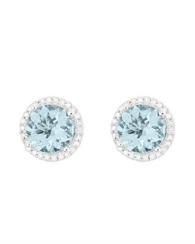 Brand New Earring with 2.66ctw of Precious Stones - aquamarine and diamond 925 Silver sterling silver