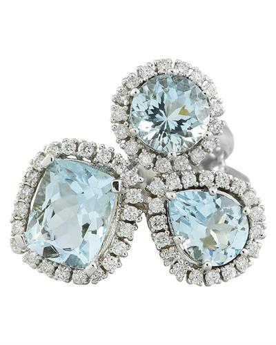 4.98 Carat Aquamarine 14K White Gold Diamond Ring