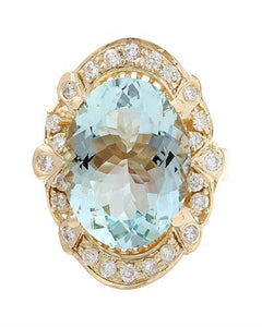 5.8 Carat Natural Aquamarine 14K Solid Yellow Gold Diamond Ring