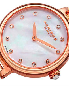 Akribos XXIV AK877RG Brand New Japan Quartz Watch with 0.06ctw of Precious Stones - diamond and mother of pearl
