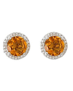Brand New Earring with 2.76ctw of Precious Stones - citrine and diamond 925 Silver sterling silver