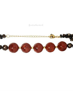 PEARL LUSTRE Brand New Necklace with 0ctw of Precious Stones - coral, pearl, and topaz  Yellow Gold Plated Base Metal