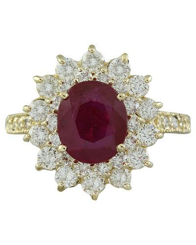 3.30 Carat Ruby 14K Yellow Gold Diamond Ring