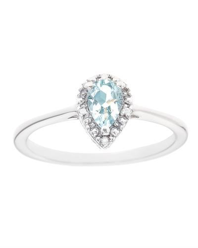 Brand New Ring with 0.36ctw of Precious Stones - aquamarine and diamond 925 Silver sterling silver