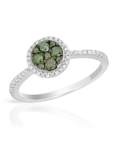 Brand New Ring with 0.47ctw of Precious Stones - diamond and diamond 14K White gold