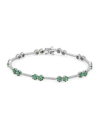 Julius Rappoport Brand New Bracelet with 2.43ctw of Precious Stones - diamond and emerald 14K White gold