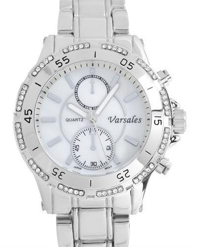 Varsales V5116-1 Brand New Japan Quartz Watch with 0ctw of Precious Stones - crystal and mother of pearl