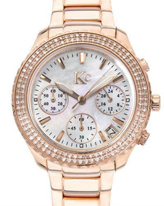 KC Brand New Japan Quartz date Watch with 0ctw mother of pearl