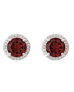 Brand New Earring with 3.36ctw of Precious Stones - diamond and garnet 925 Silver sterling silver