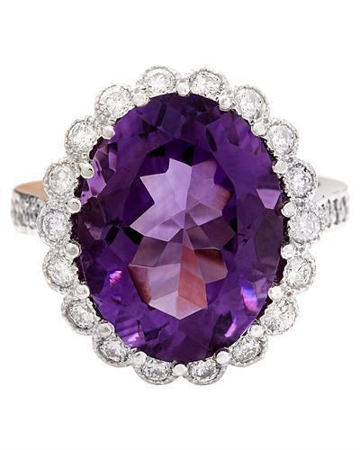 12.32 Carat Natural Amethyst 14K Solid White Gold Diamond Ring