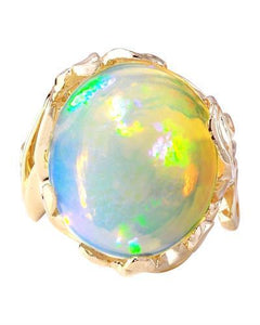 11.08 Carat Natural Opal 14K Solid Yellow Gold Ring