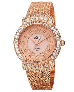 burgi BUR120RG Brand New Quartz Watch with 0.04ctw of Precious Stones - crystal, diamond, and mother of pearl