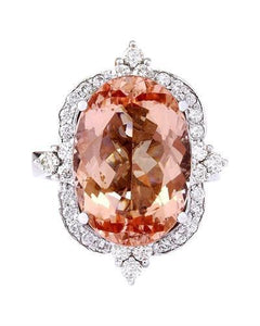10.91 Carat Natural Morganite 14K Solid White Gold Diamond Ring