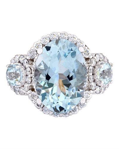 6.00 Carat Natural Aquamarine 14K Solid White Gold Diamond Ring