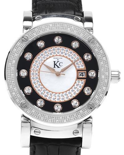 Techno Com by KC WA004740 Brand New Quartz date Watch with 0.35ctw of Precious Stones - crystal, diamond, and mother of pearl
