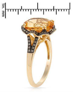 Brand New Ring with 4.54ctw of Precious Stones - citrine and diamond 14K Yellow gold