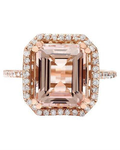 5.52 Carat Natural Morganite 14K Solid Rose Gold Diamond Ring