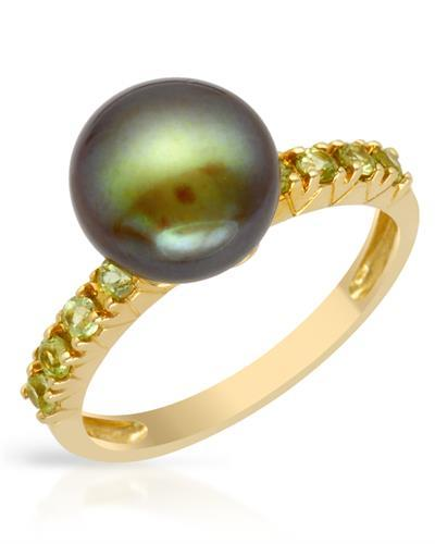 PEARL LUSTRE Brand New Ring with 0.3ctw of Precious Stones - pearl and peridot 14K Yellow gold