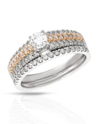 Brand New Ring with 0.89ctw of Precious Stones - diamond and diamond 14K Two tone gold