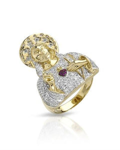 Brand New Ring with 0.84ctw of Precious Stones - diamond and ruby 10K Yellow gold