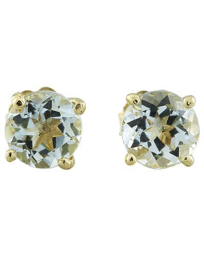 1.06 Carat Aquamarine 14K Yellow Gold Earrings