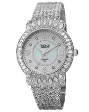 Load image into Gallery viewer, burgi BUR120SS Brand New Quartz Watch with 0.04ctw of Precious Stones - crystal, diamond, and mother of pearl