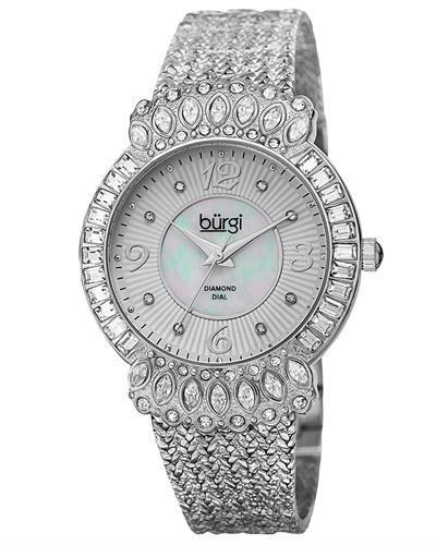 burgi BUR120SS Brand New Quartz Watch with 0.04ctw of Precious Stones - crystal, diamond, and mother of pearl
