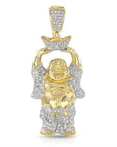 Brand New Pendant with 0.82ctw diamond 14K/925 Yellow Gold plated Silver