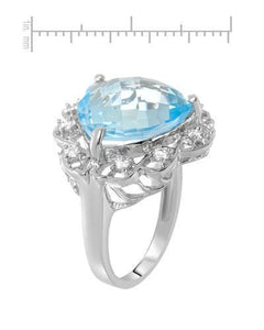 Brand New Ring with 11.01ctw of Precious Stones - topaz and zircon 925 Silver sterling silver